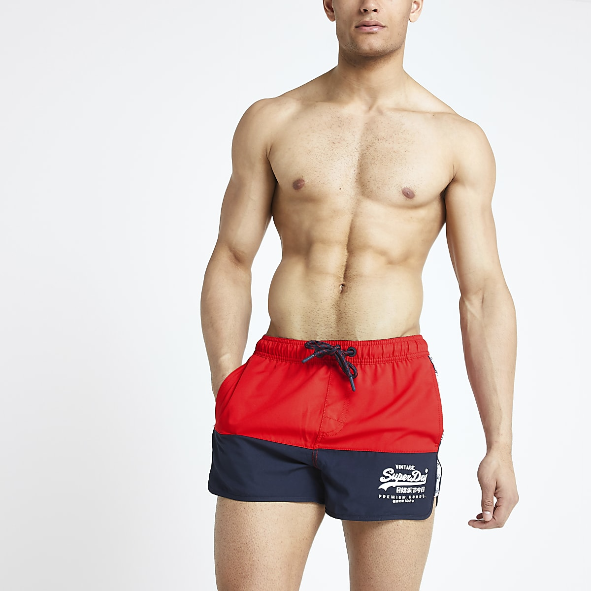 Superdry red runner swim trunks