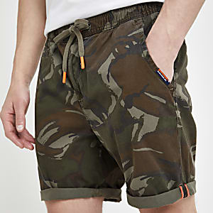 Superdry khaki camo sun scorched shorts