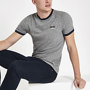 Superdry - Grijs T-shirt met logoprint en ronde hals