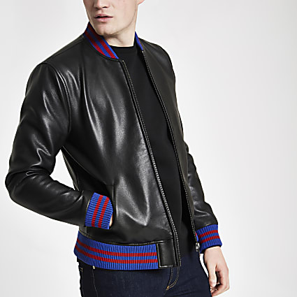 Black faux leather tipped bomber jacket
