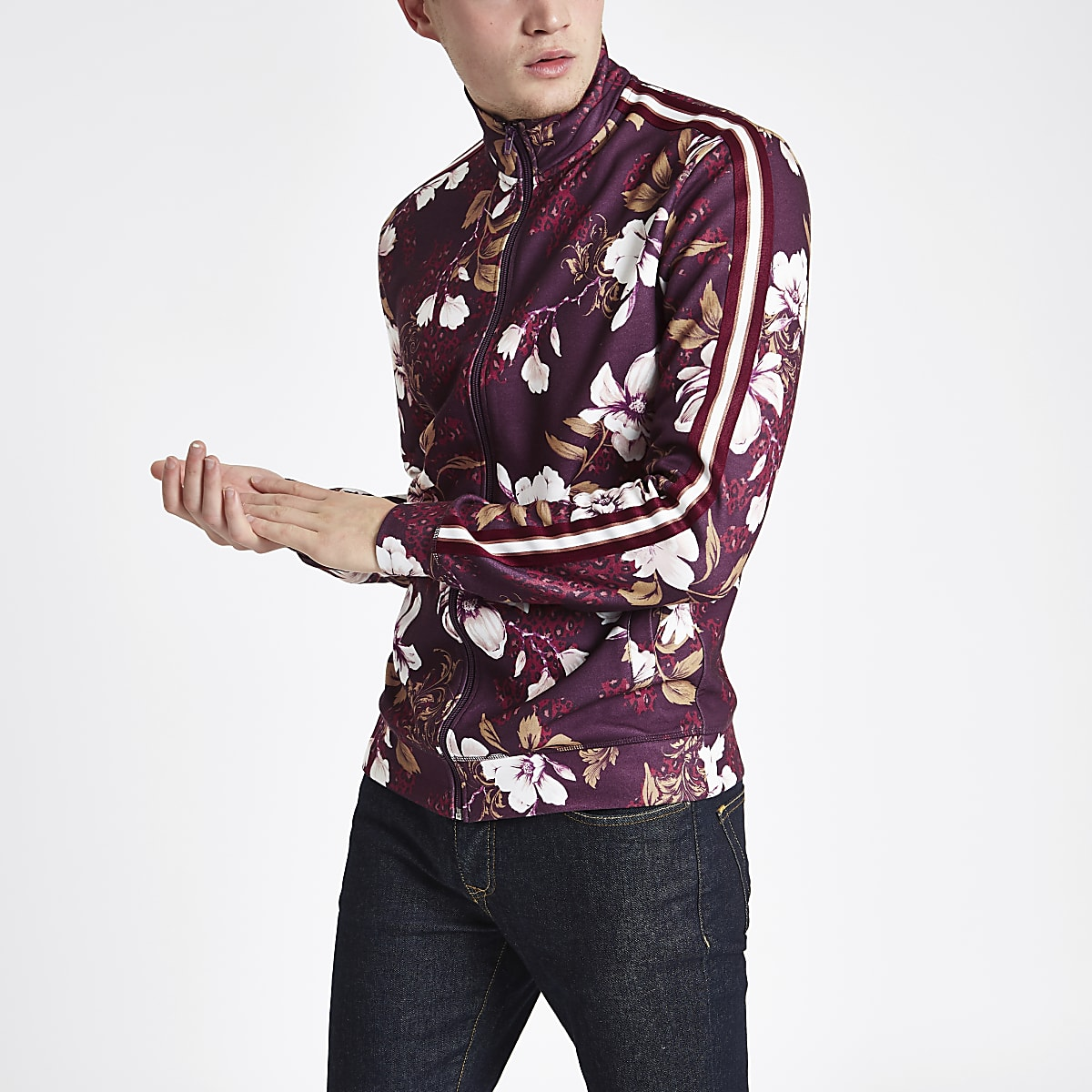 Burgundy floral slim fit track jacket