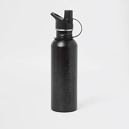 Grey 'drink' print water bottle