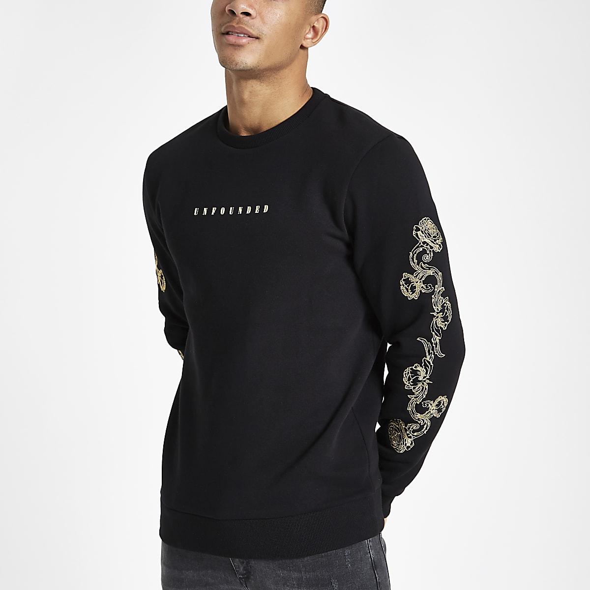 Black slim fit baroque sleeve sweatshirt