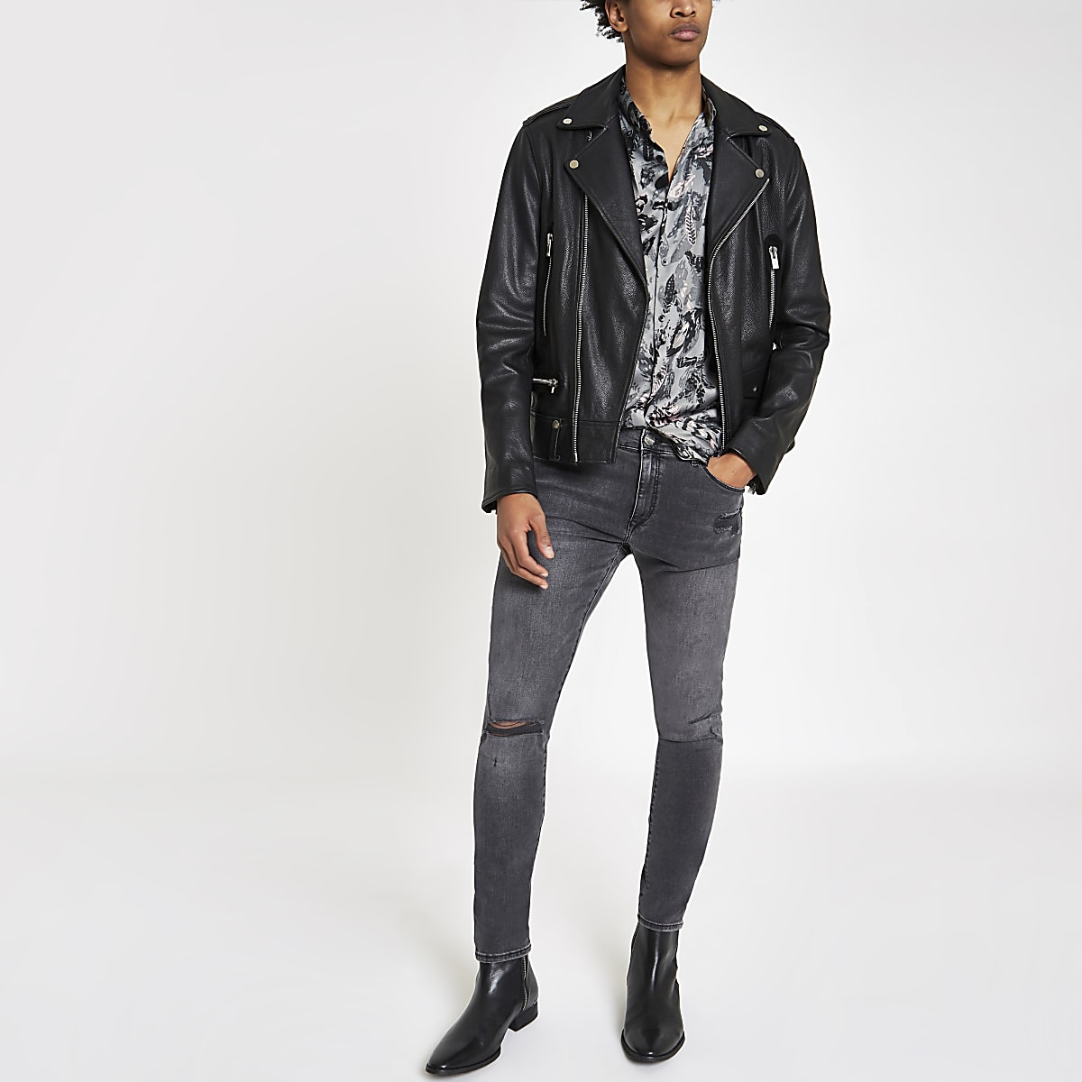 Black wash Ollie spray on ripped jeans