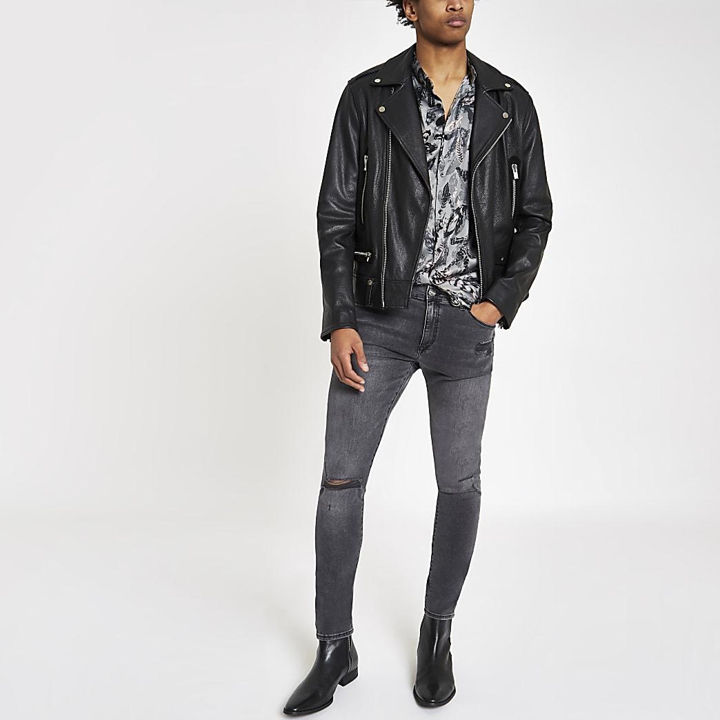 Ollie - Zwarte wash spray-on ripped jeans