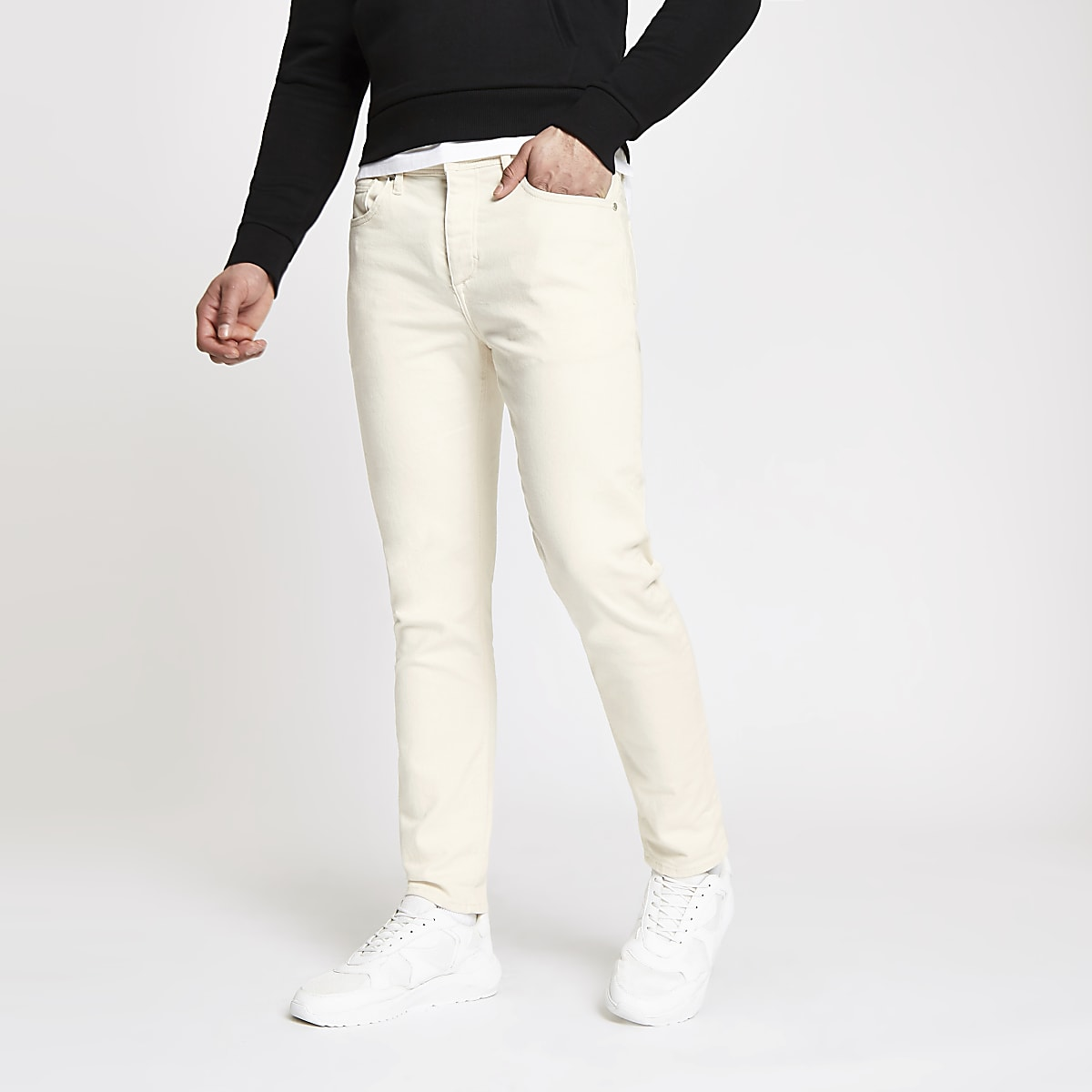 Ecru tapered Jimmy jeans