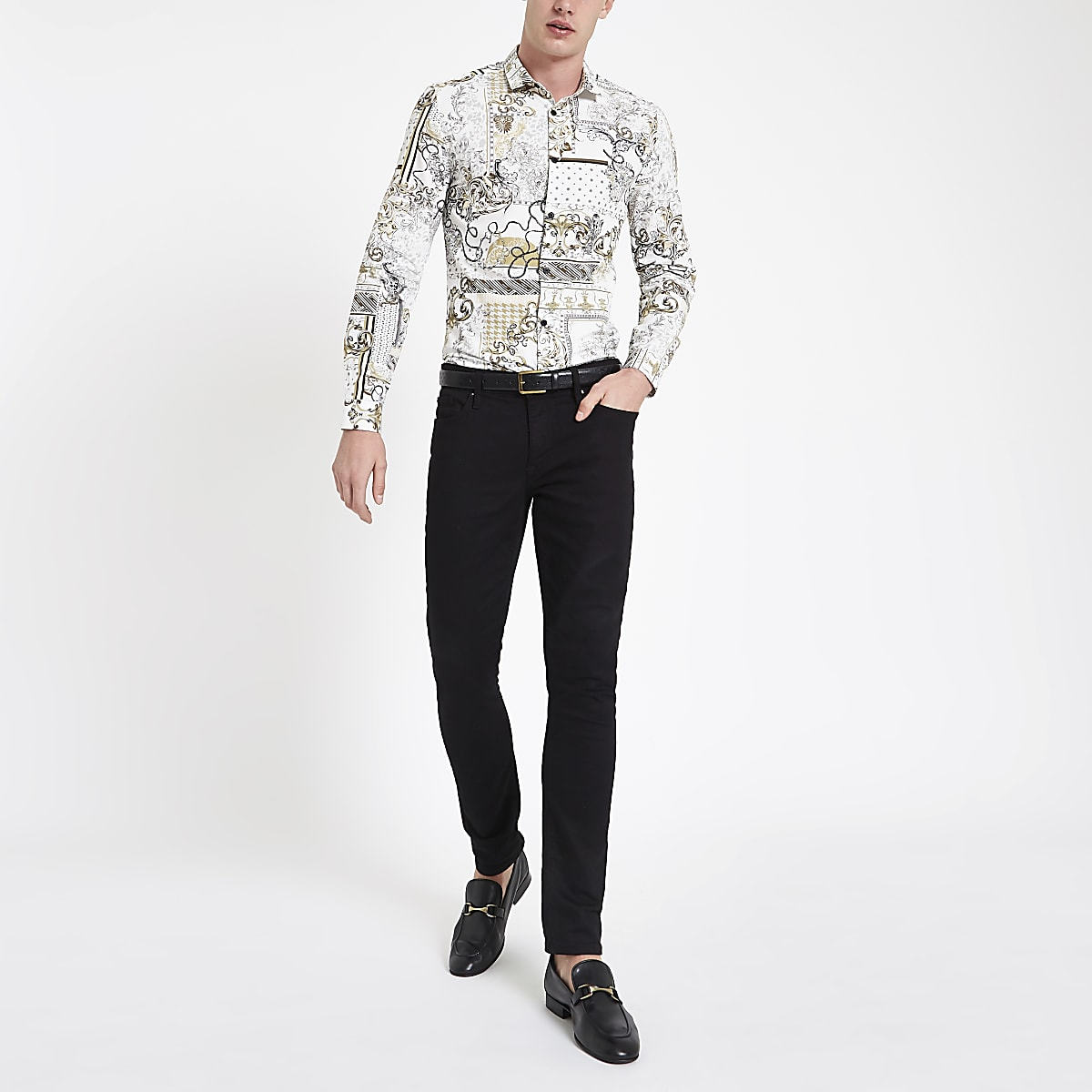 White baroque print button-down shirt