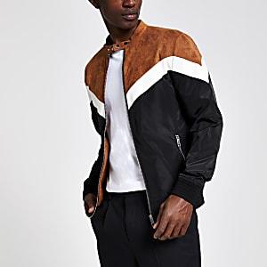 Veste motif chevron marron à col montant