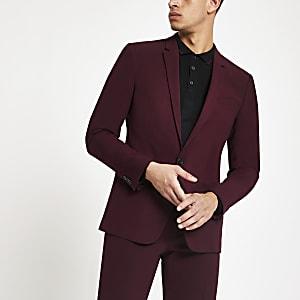 Weinrote Skinny Fit Anzugsjacke