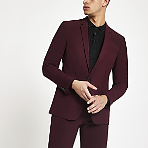 Burgundy skinny fit suit jacket