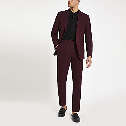 Burgundy skinny fit suit trousers