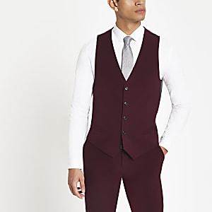 Burgundy suit vest