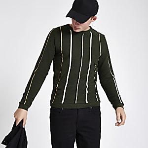 Khaki green slim fit stripe textured jumper