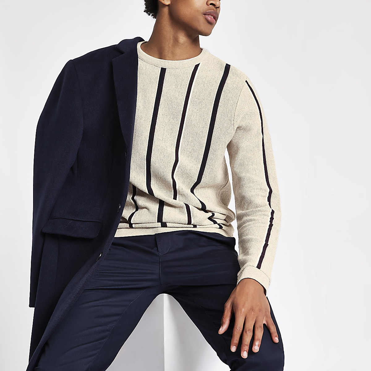 Ecru stripe slim fit stripe textured jumper