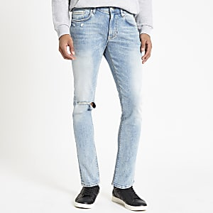 Mid blue Sid ripped skinny jeans