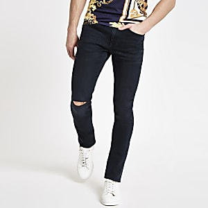 Sid - Donkerblauwe skinny ripped jeans