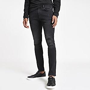 Sid - Ripped skinny jeans met zwarte wash