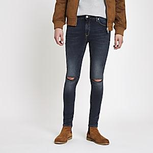 Danny – Dunkelblaue Super Skinny Jeans im Used Look