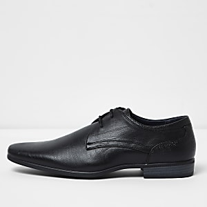Black wide fit lace-up derby shoes