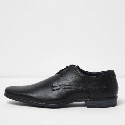 Black wide fit pointed formal lace-up shoes