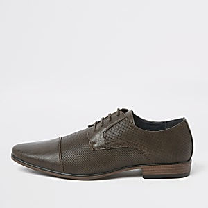 Dark brown embossed toecap wide fit shoes