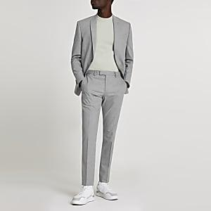 Graue, schmale, strukturierte Anzughose