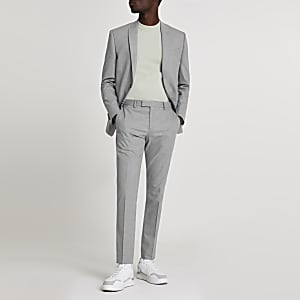 Grey textured skinny suit pants