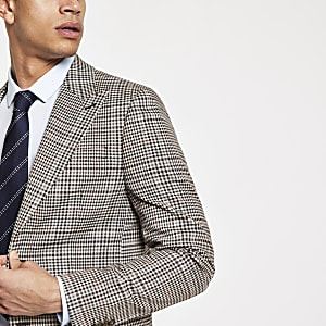 Brown heritage check skinny fit suit jacket