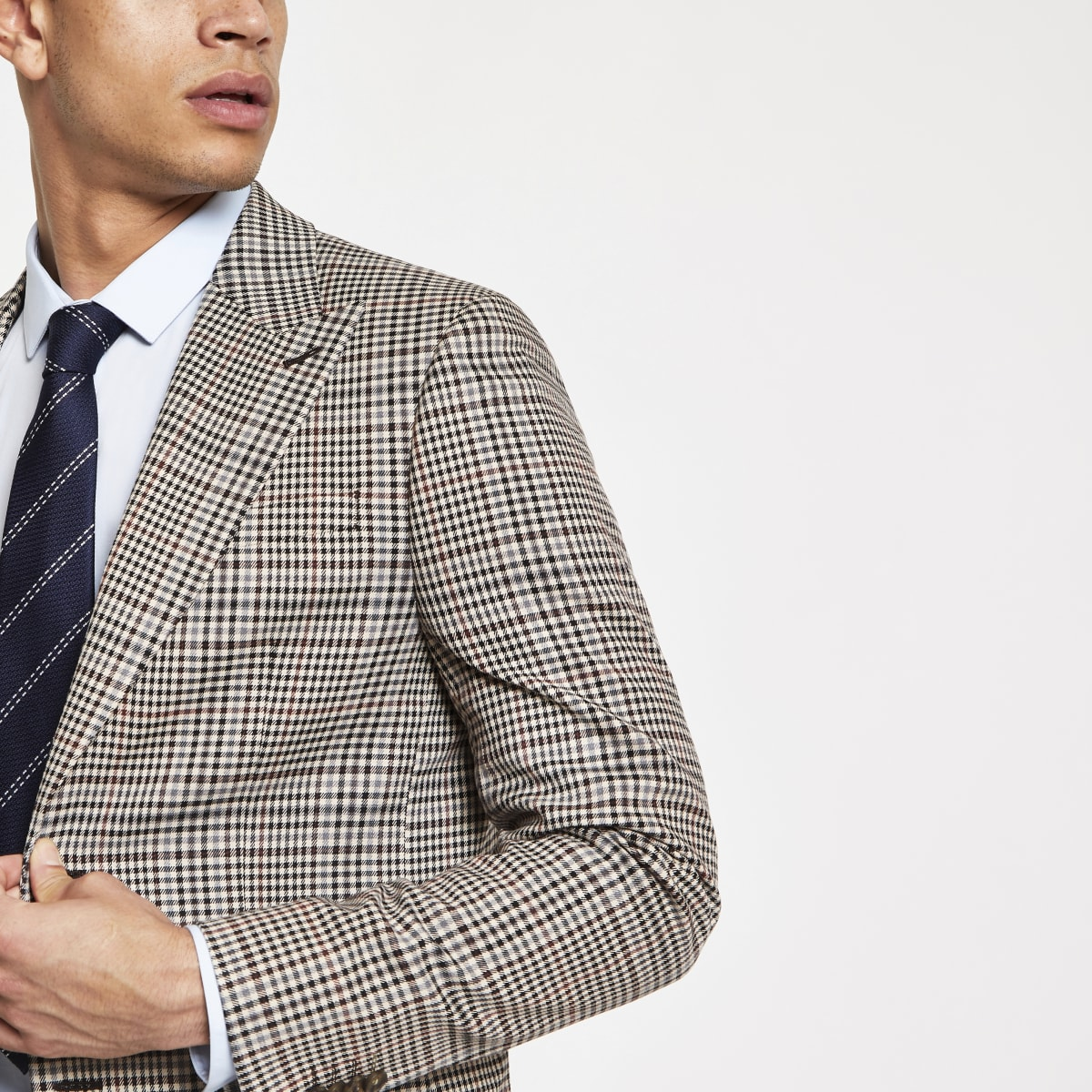 Brown heritage check skinny fit suit jacket