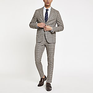 Braune Skinny Fit Anzughose mit Karos