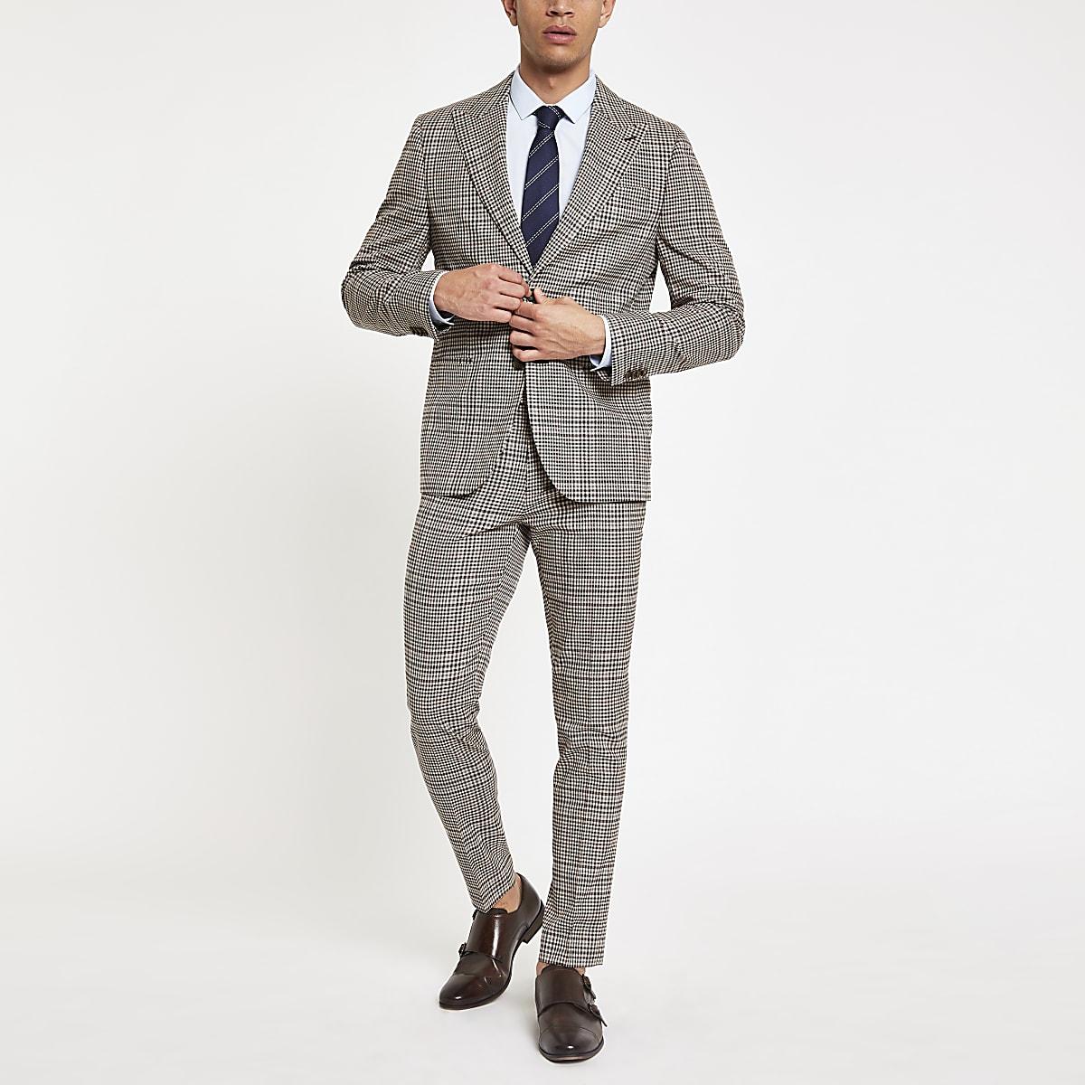 Brown heritage check skinny fit suit pant