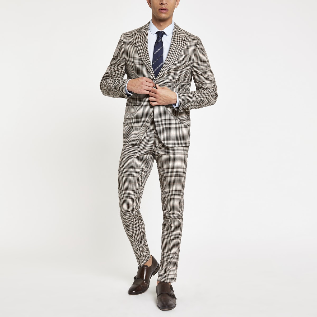 Brown heritage check skinny fit suit pant