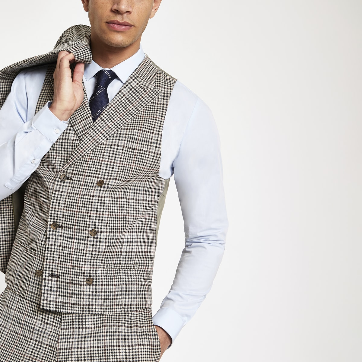 Brown heritage check suit waistcoat