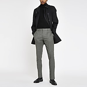 Grey skinny fit pleated smart pants