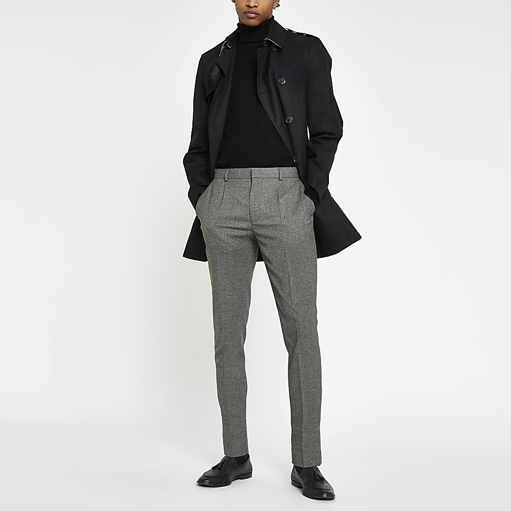 Grey skinny fit pleated smart trousers