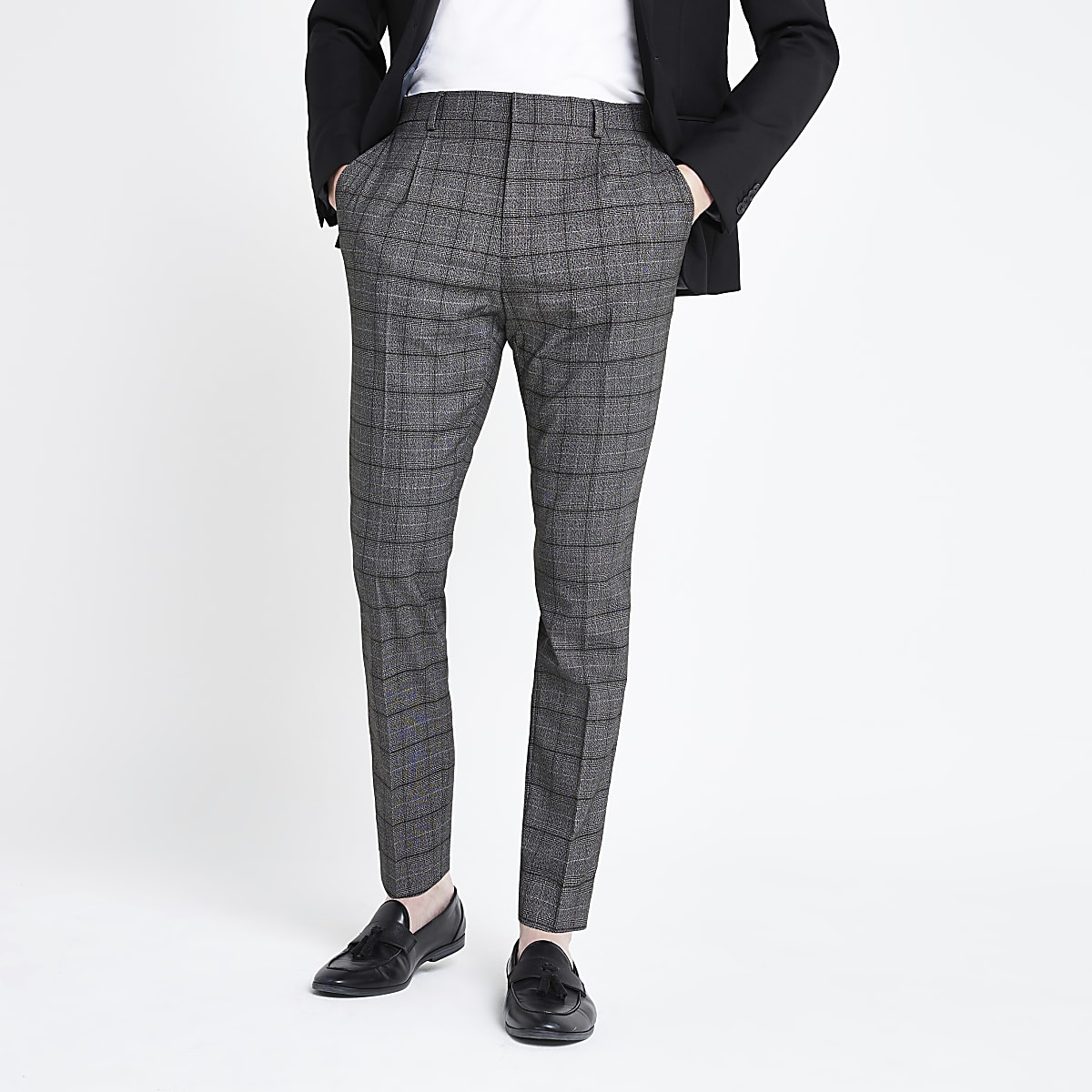 Dark grey check pleated skinny fit pants