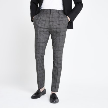 Dark grey check pleated skinny fit trousers