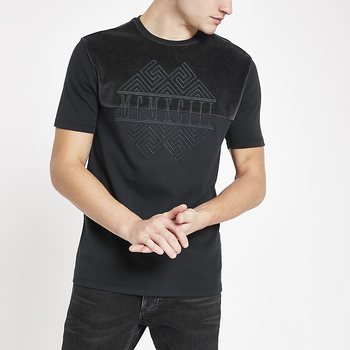 T-shirt slim anthracite brodé