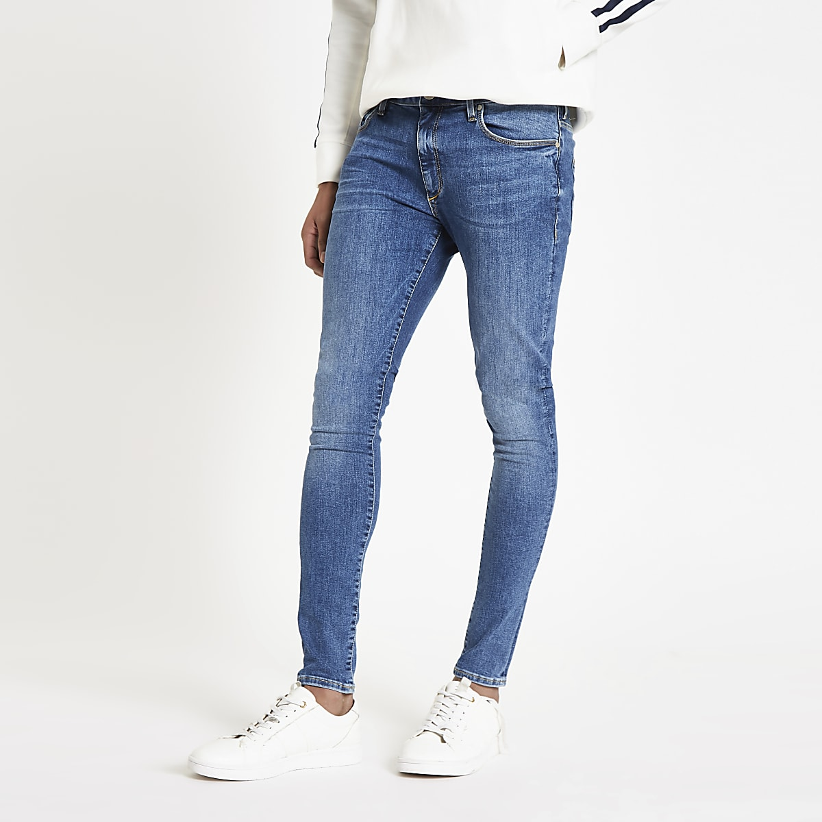 Mid blue Ollie super skinny spray on jeans