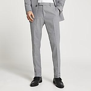 Pantalon de costume slim gris texturé