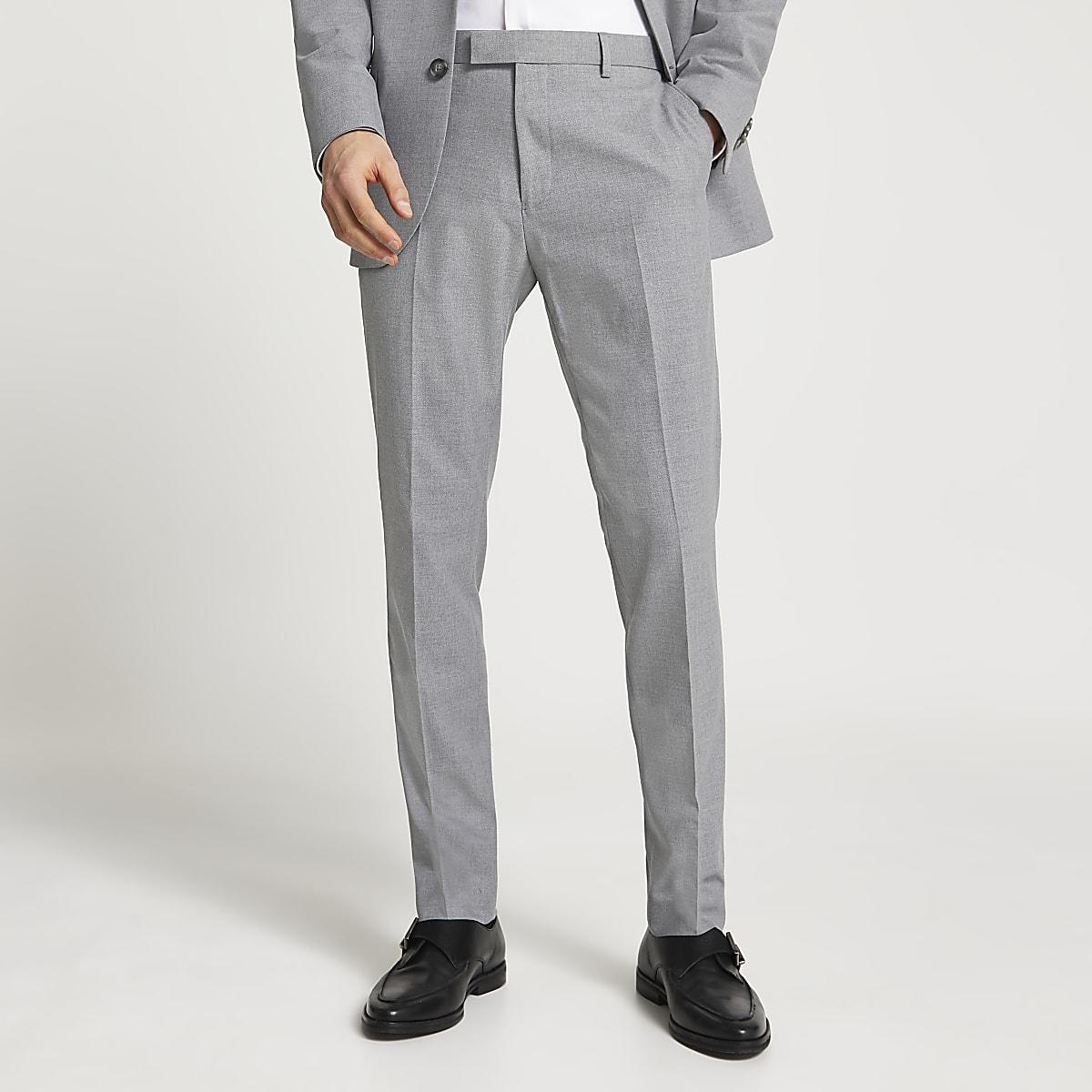 Grijze slim-fit pantalon met textuur
