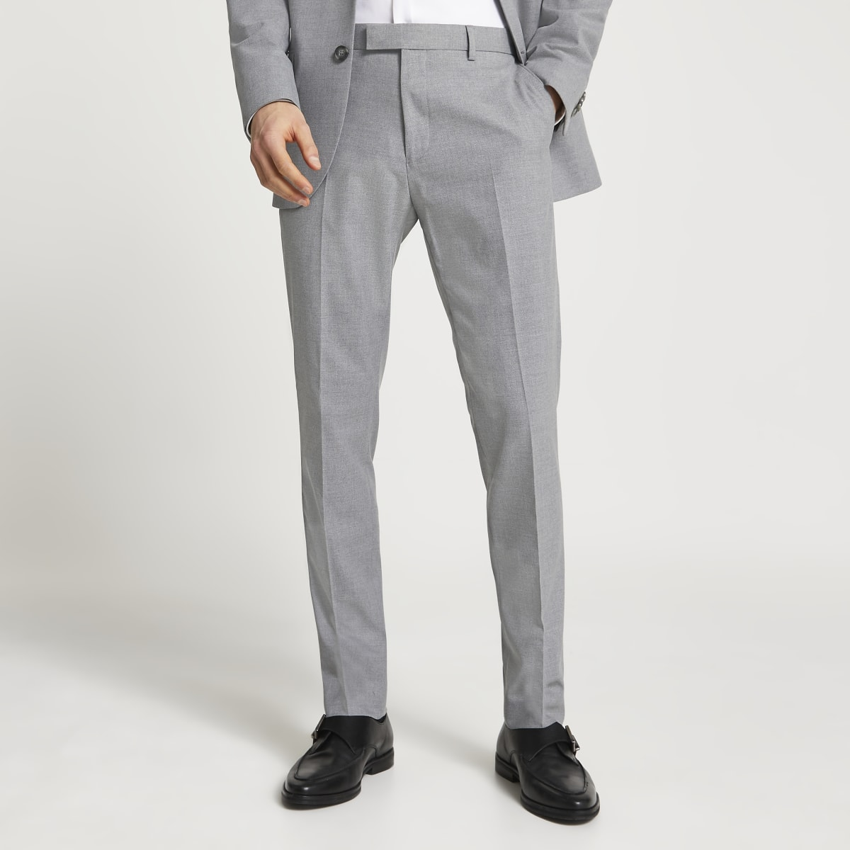 Grey textured slim fit suit trousers
