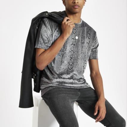 Grey velour slim fit snake print T-shirt
