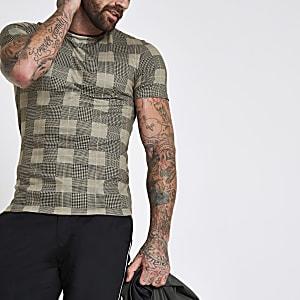 Bruin geruit aansluitend T-shirt