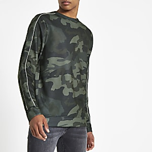Khaki green camo print slim fit sweatshirt