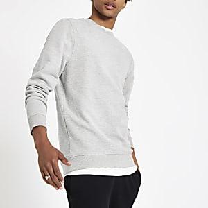Grijs gemêleerd slim-fit sweatshirt met ronde hals
