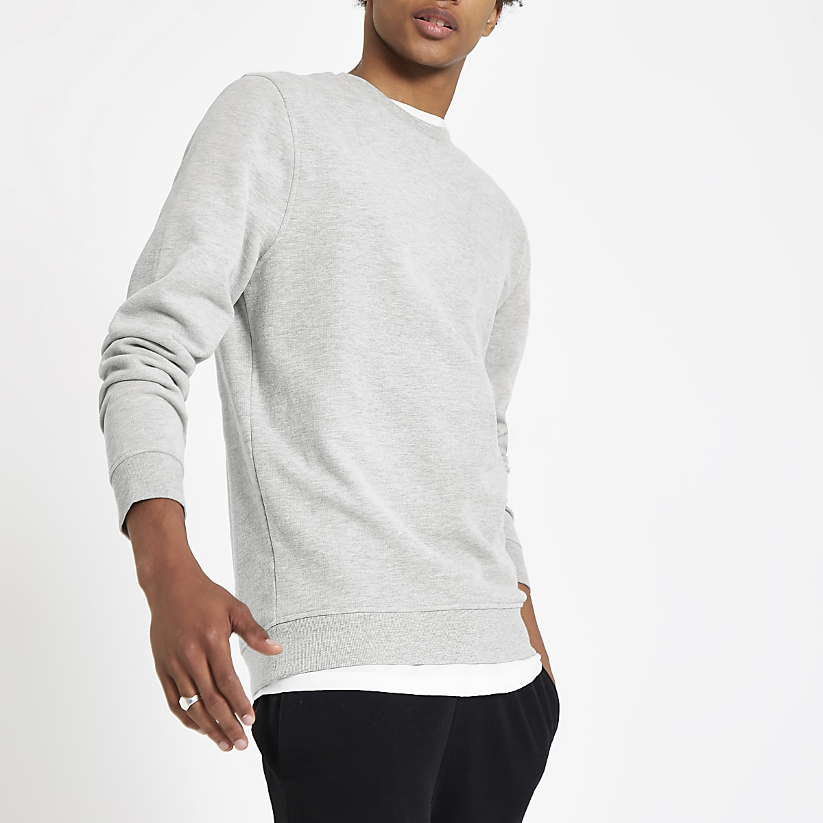 Grey marl slim fit crew neck sweatshirt