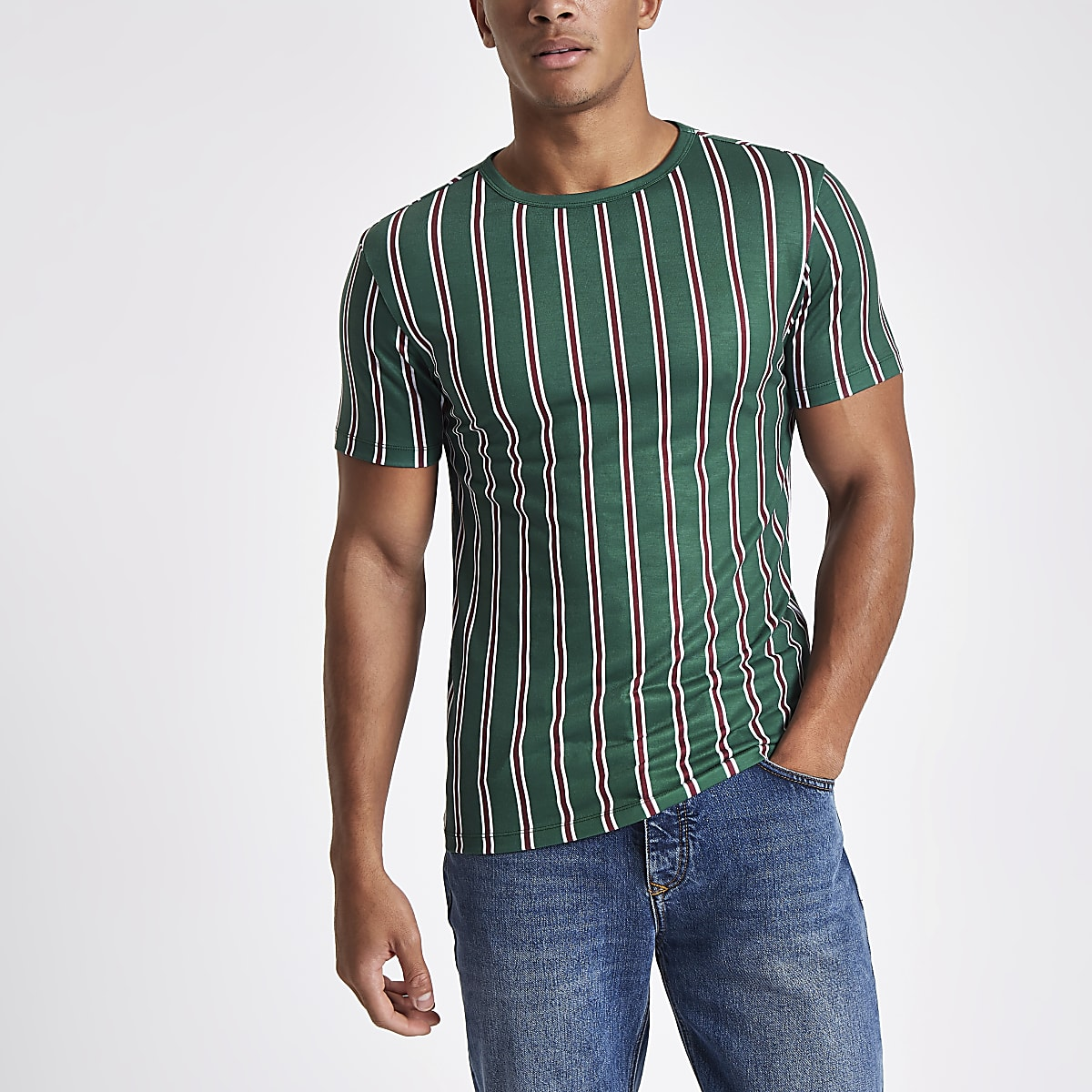 Dark green vertical stripe T-shirt