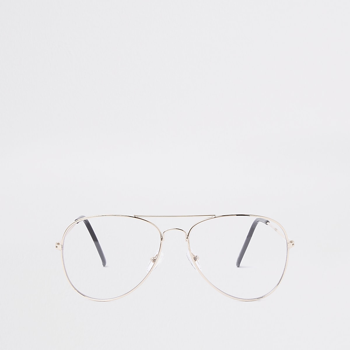 Gold tone clear lens aviator glasses