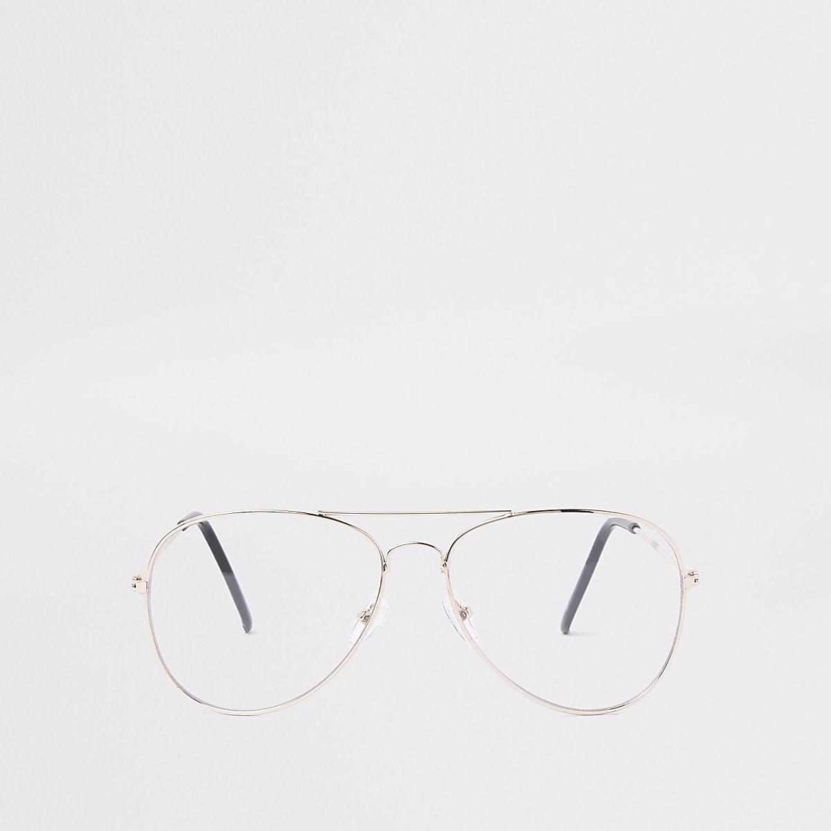 Goldfarbene Pilotenbrille mit transparenten Gläsern